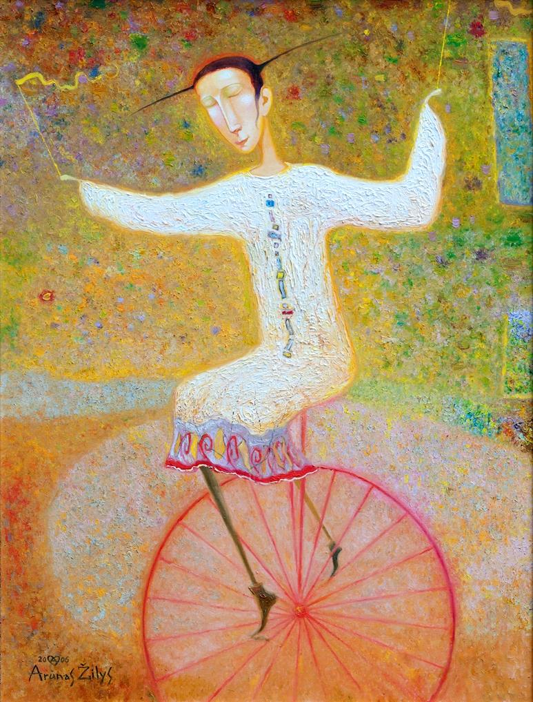 reprodukcija ant drobes Woman Cyclist (2011)